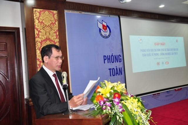 Nhà báo Nguyễn Thế Dũng, Giám đốc Nhà Văn hóa, Hội Nhà báo Việt Nam công bố các quyết định giải báo chí